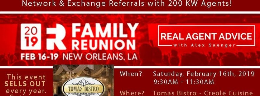 Annual KW Family Reunion Agent-to-Agent Referral Networking Breakfast