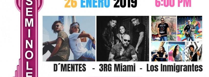 LOS INMIGRANTES, 3RG MIAMI y D'MENTES EN CONCIERTO! ROCK EN ESPAÑOL!