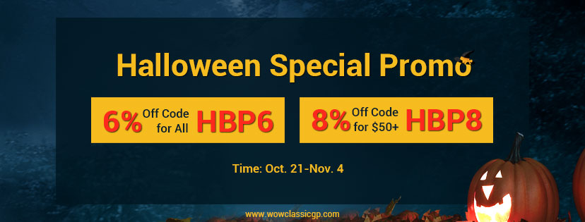 Buy wow classic gold with 8% off to Join Halloween&Shadowlands Till Nov.4