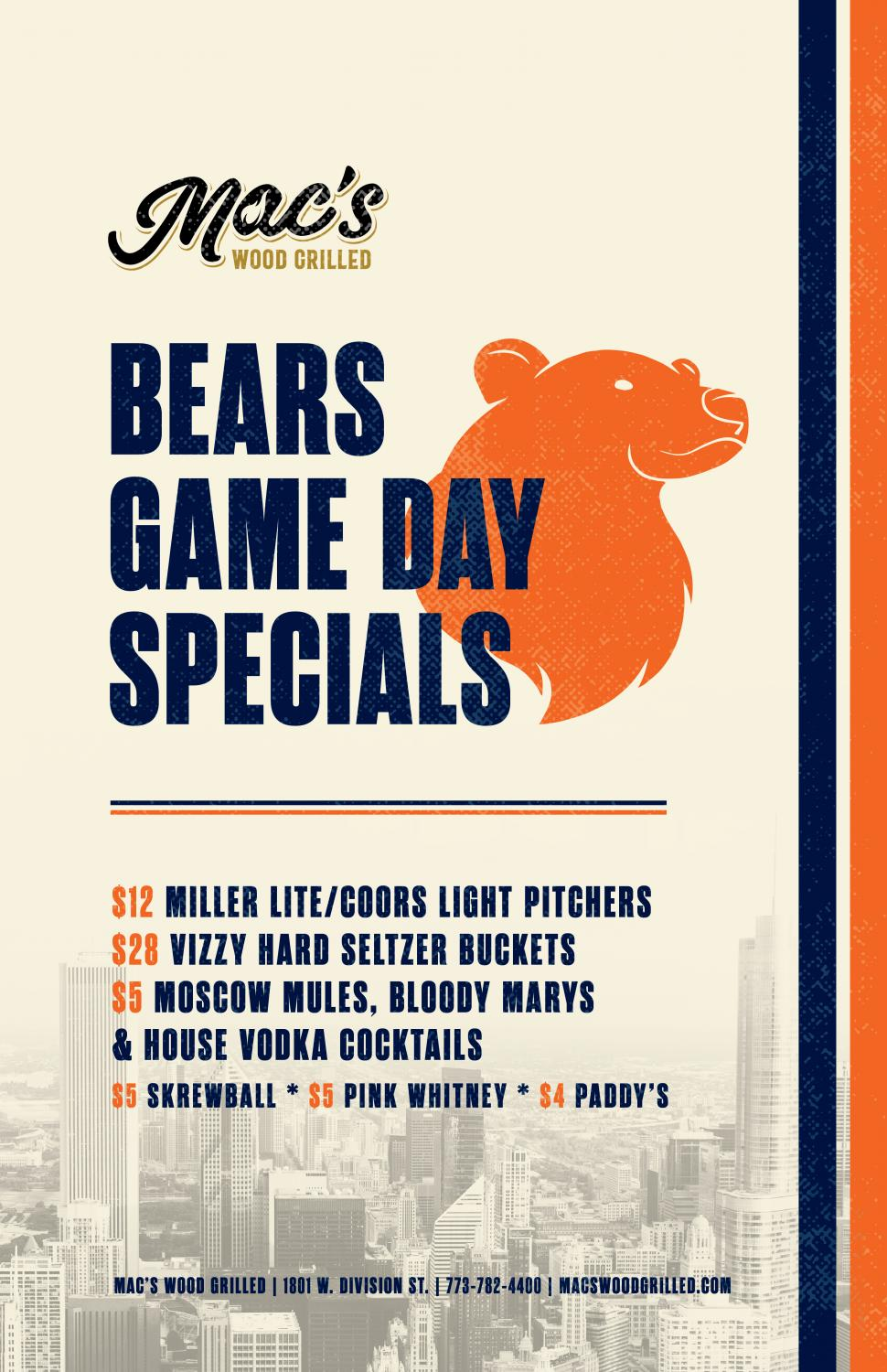 Chicago Bears Game Day Specials at Mac's Wood Grilled