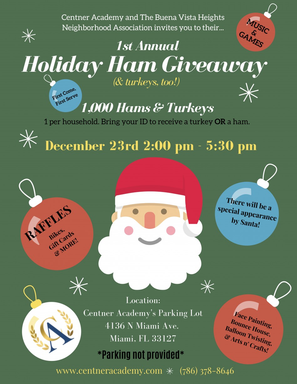 First Annual Centner Academy and Buena Vista Heights Neighborhood Association's Holiday Ham & Turkey Giveaway