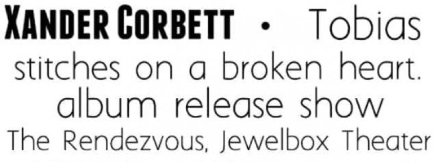 Xander Corbett: Album Release Party
