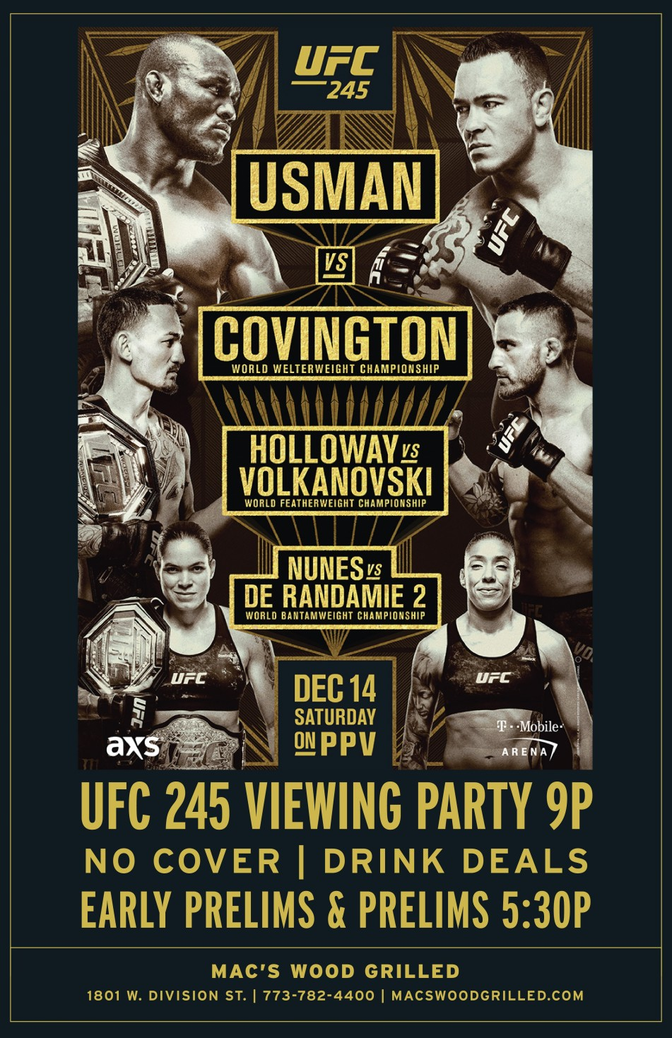 UFC 245 Viewing Party at Mac's Wood Grilled