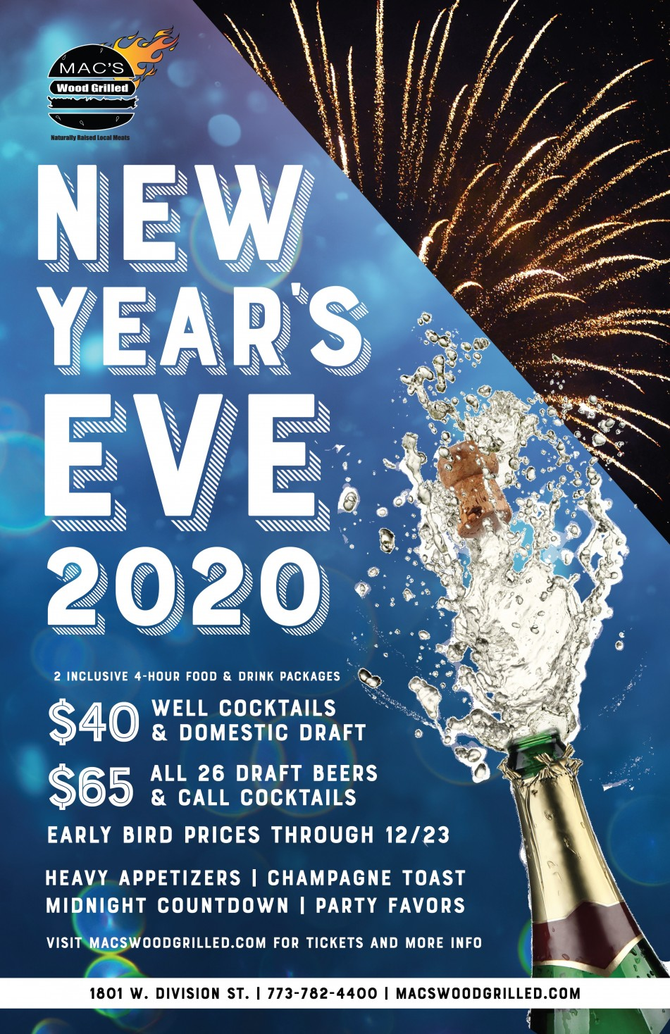 New Year's Eve 2020 at Mac's Wood Grilled