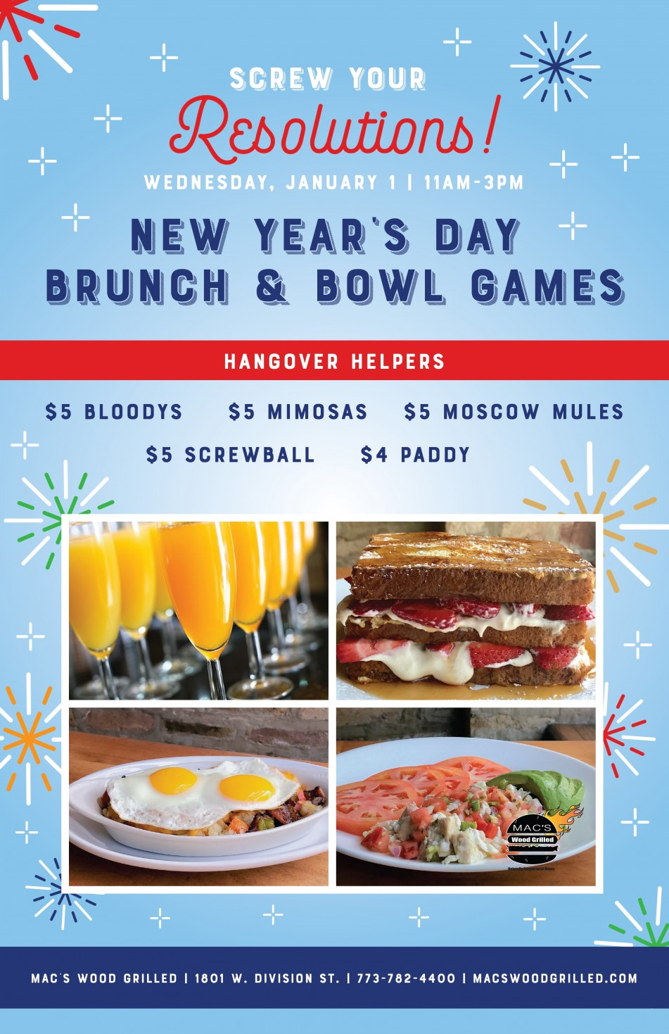 New Year's Day Brunch & Bowl Games at Mac's Wood Grilled