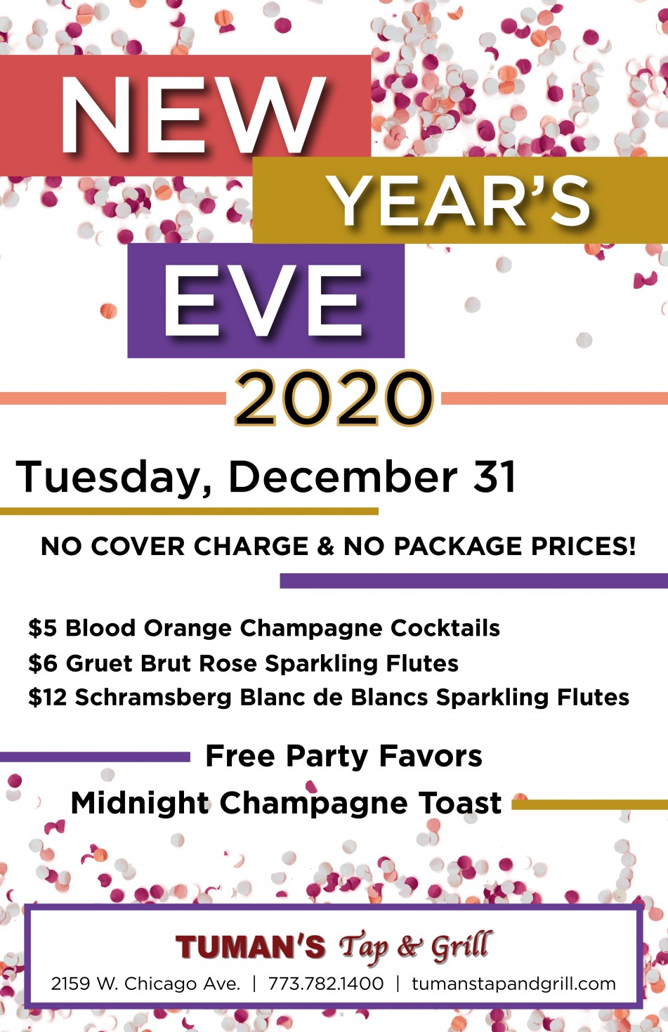 No Hassle New Year's Eve at Tuman's Tap & Grill