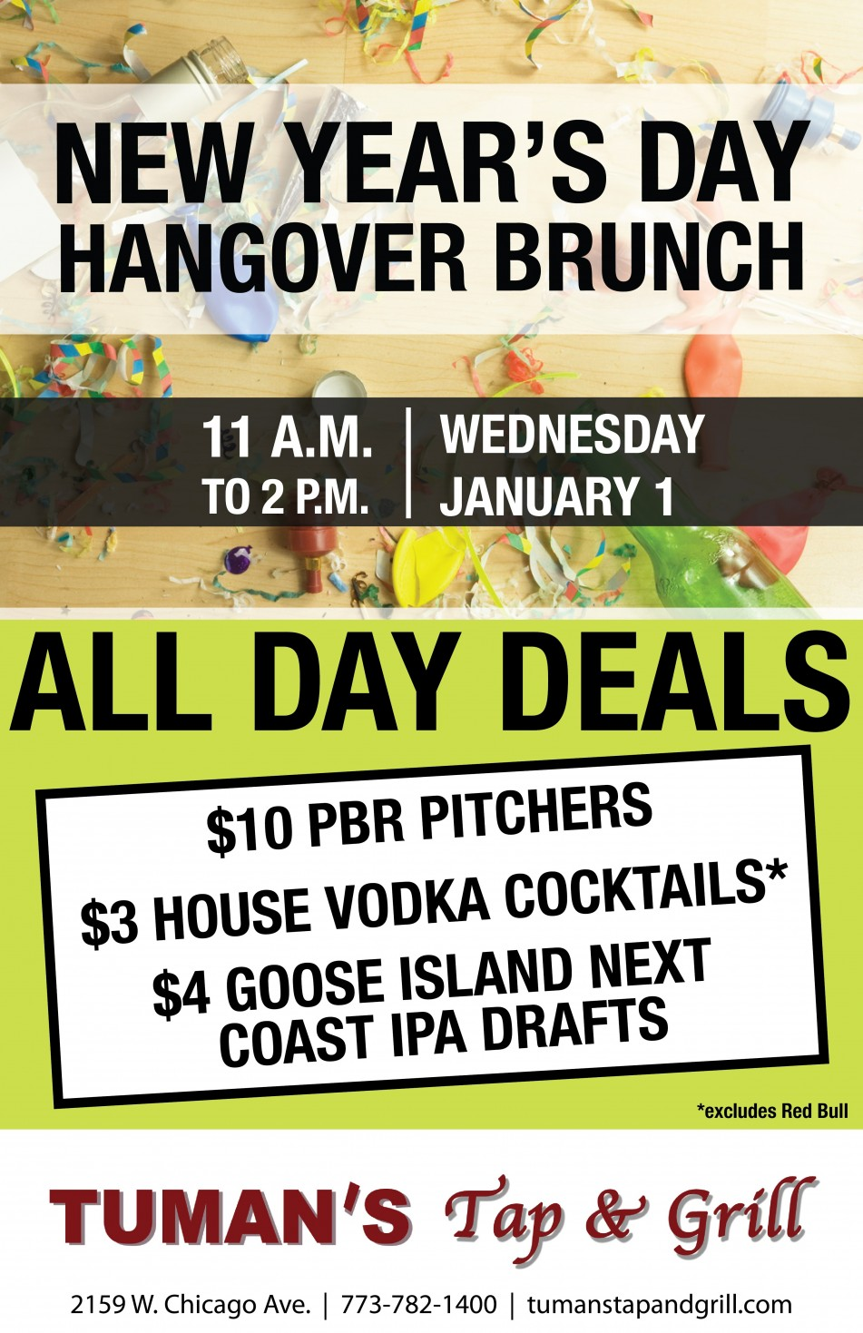 New Year's Day Hangover Brunch at Tuman's Tap & Grill