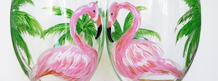 Flamingos in Love Wine Glass Paint Party!