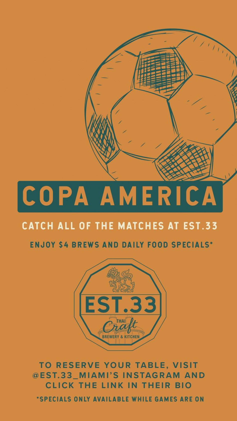 EST. 33 Thai Craft Brewery & Kitchen Hosts Copa América 2021 Watch Party