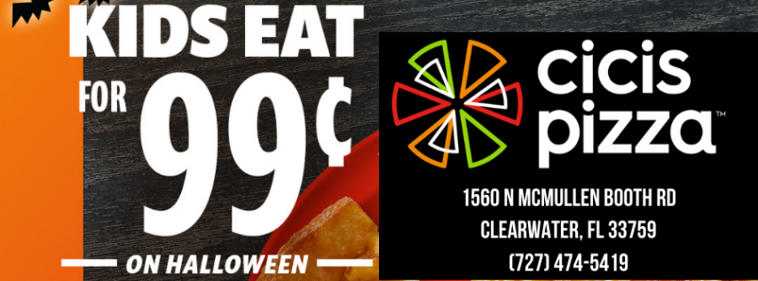 Kids Eat for ONLY $0.99 on Halloween at Cicis - Clearwater (Or FREE With Costume