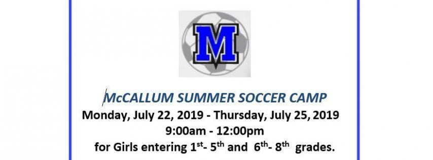 McCallum Summer Girls Soccer Camp 2019