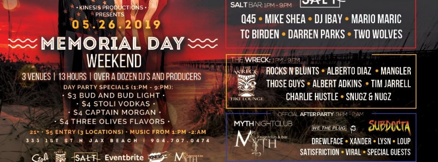 Memorial Day Party at Salt, The Wreck and Myth | Sunday 05.26.19