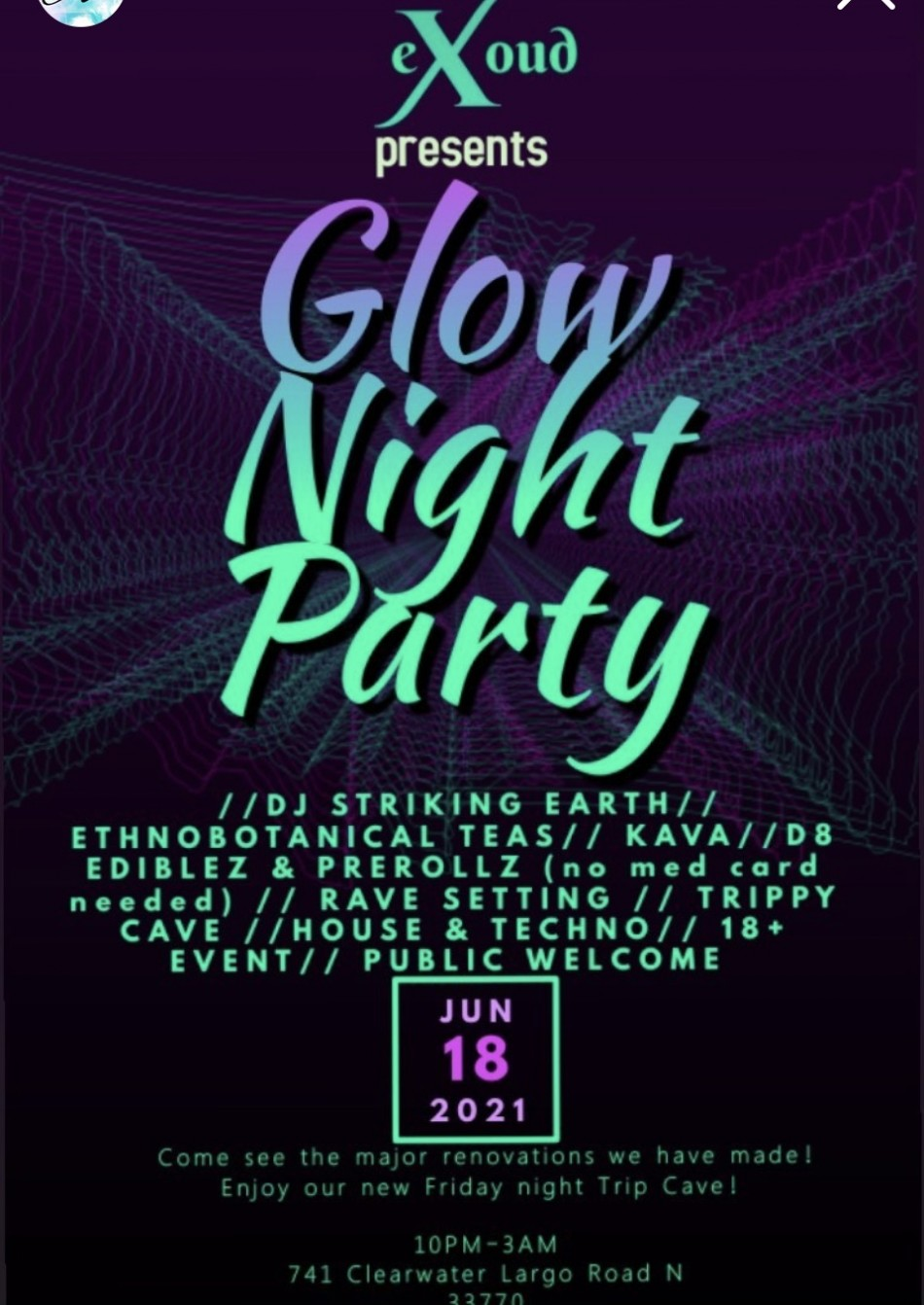 Exoud Botanicals Glow Party with DJ Striking Earth