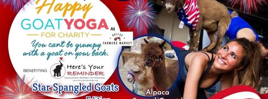 Happy Goat Yoga: Star-Spangled Goats w/ ALPACAS at Dallas Farmers Market