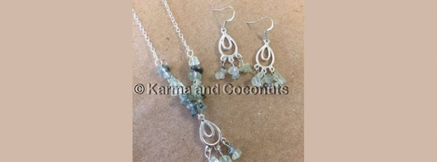 Semi-Precious Beaded Necklace and Earrings - $30