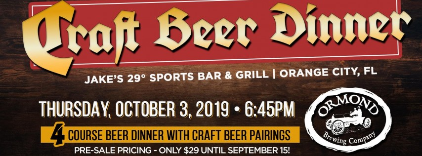 Craft Beer Dinner Featuring Ormond Brewing
