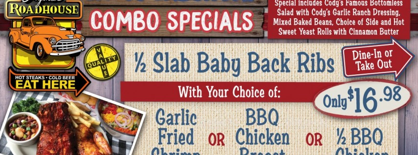 Celebrate Labor Day w/ BBQ from Cody's Original Roadhouse!