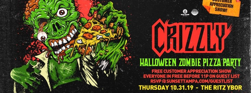 Crizzly – Halloween Zombie Pizza Party – Free Guest List