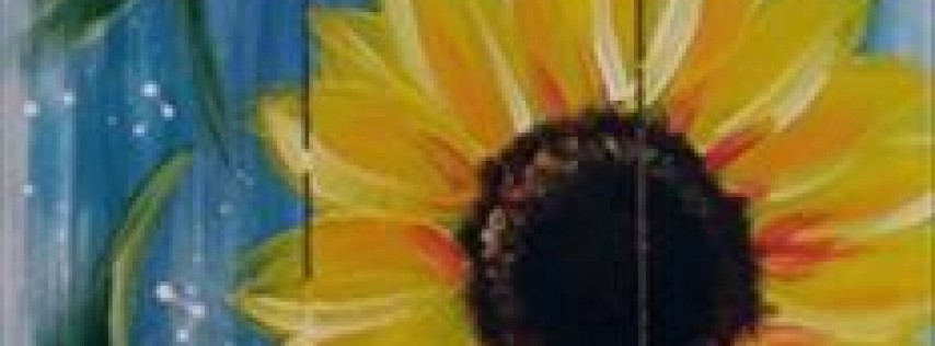 Rustic Sunflower on Blue- Painting with a Twist