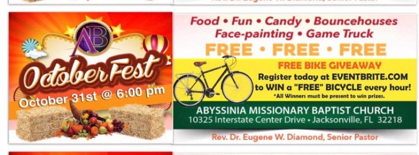 Abyssinia JAX (FREE) OctoberFest 10/31 at 6 PM- Bicycle Giveaway!