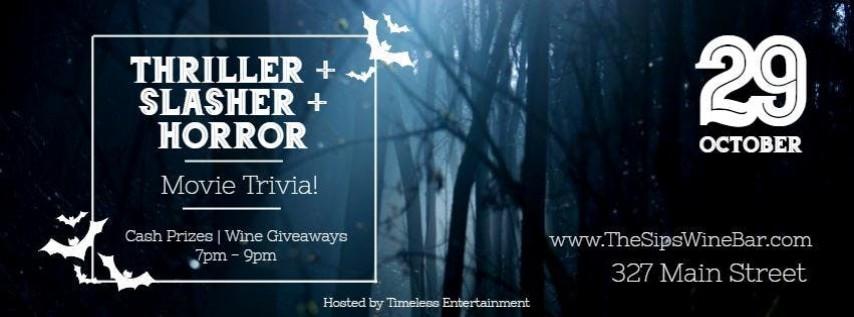 Thriller + Slasher + Horror = A Halloween Movie Trivia Night!