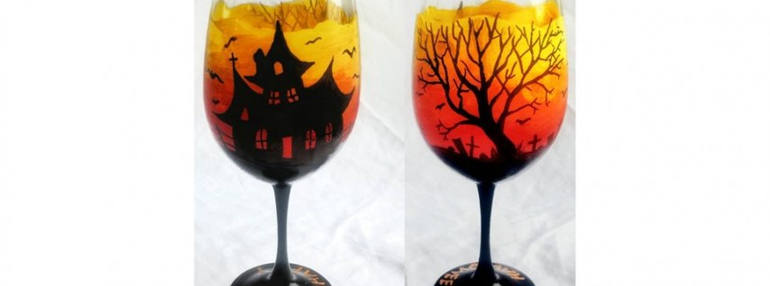 Halloween Wine Glasses at Wine and Canvas $10 Bottomless Mimosas
