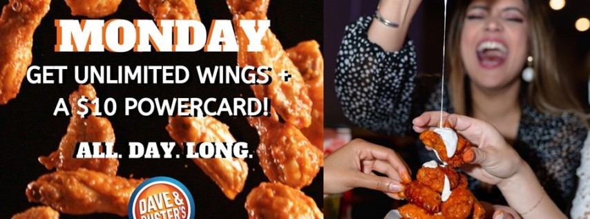 Game Day All You Can Eat Wings at Dave & Buster's