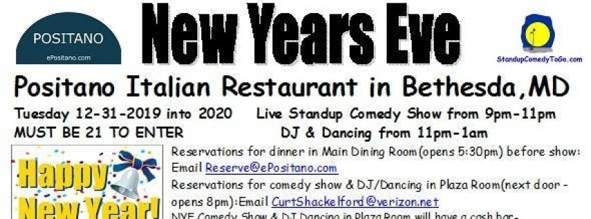 New Year's Eve @ Positano Italian Restaurant in Bethesda,MD 2019-2020
