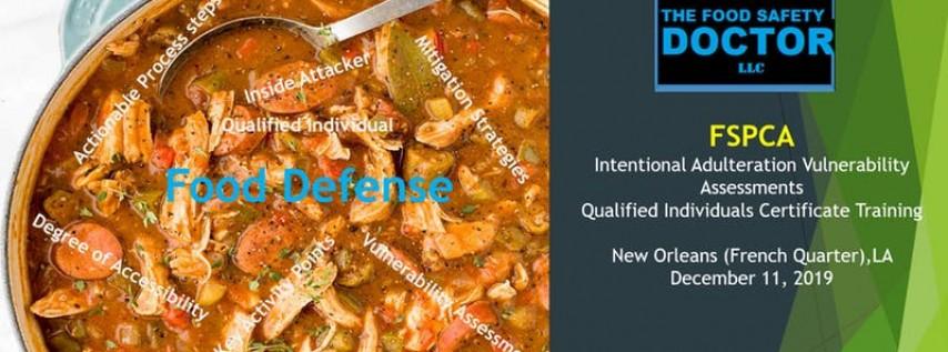 New Orleans LA: FSPCA Food Defense Qualified Individuals (IAVA-QI) Certific...