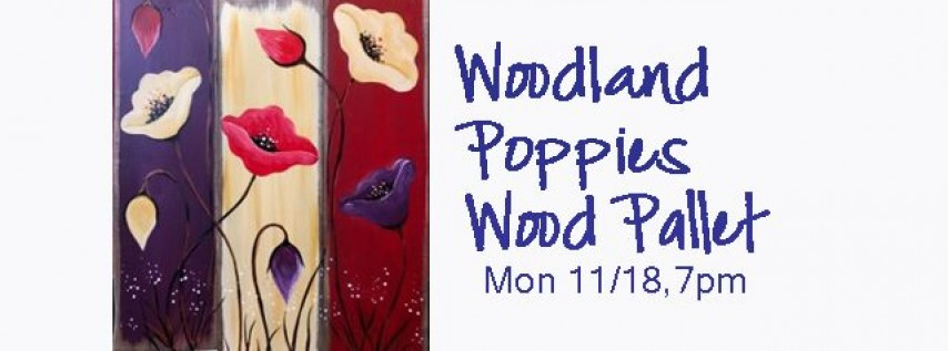 Wood Pallet-Woodland Poppies