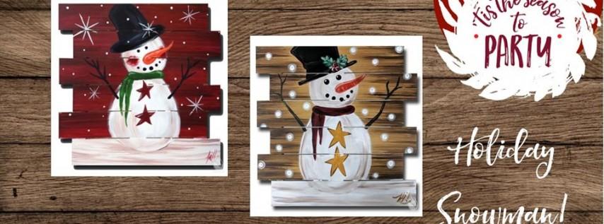 Holiday Snowman Pallet Art