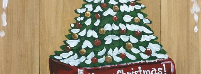 Red Wagon Christmas Tree Real Wood Board