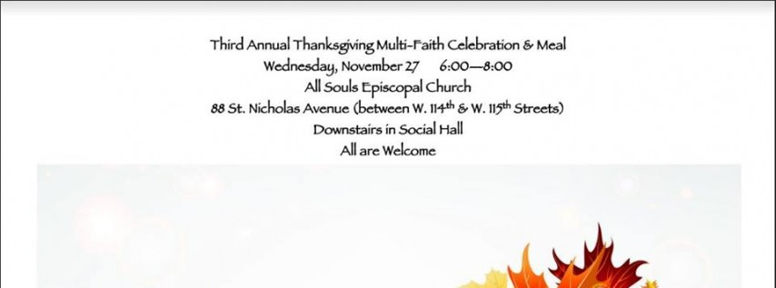 The Third Annual Multi-Faith Thanksgiving Celebration