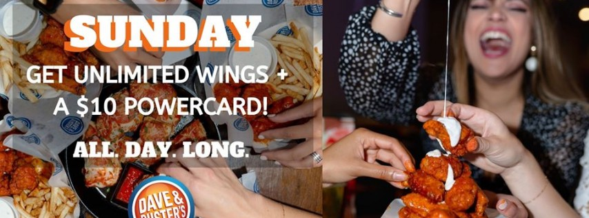 All You Can Eat Wings at Dave & Buster's