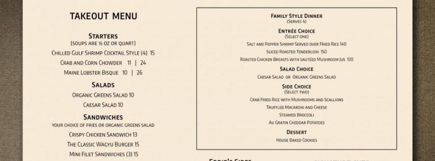 Eddie V's Take Out Menu