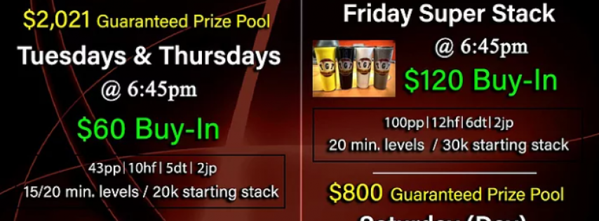 (Tuesdays) Poker Tournament at TGT with $2,021 Guaranteed Prize Pool