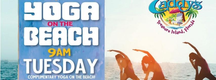 Tuesday Yoga on the Beach at Caddy's Treasure Island 6/22