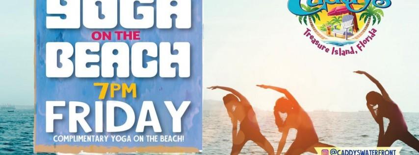 Friday Sunset Yoga on the Beach at Caddy's Treasure Island 7/23