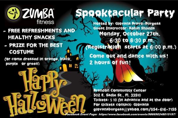 Zumba R Fitness Spooktacular Party Tampa Fl Oct 27