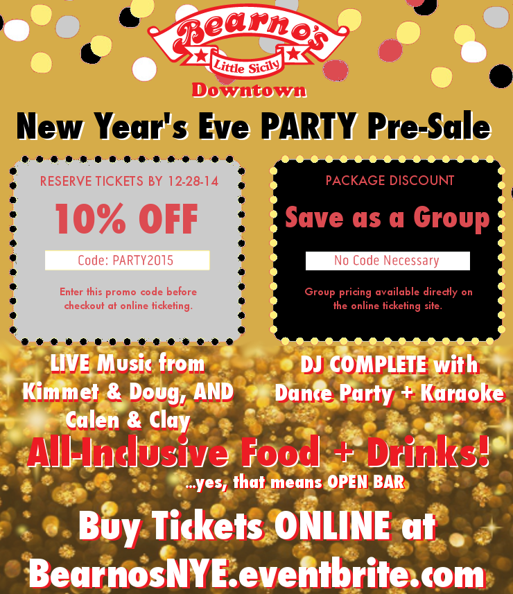 All-Inclusive New Year's Eve at Bearno's Downtown ...