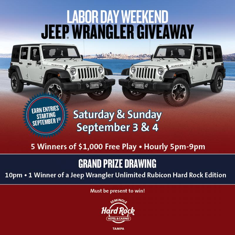 Hard Rock Jeep Wrangler Giveaway, Tampa FL