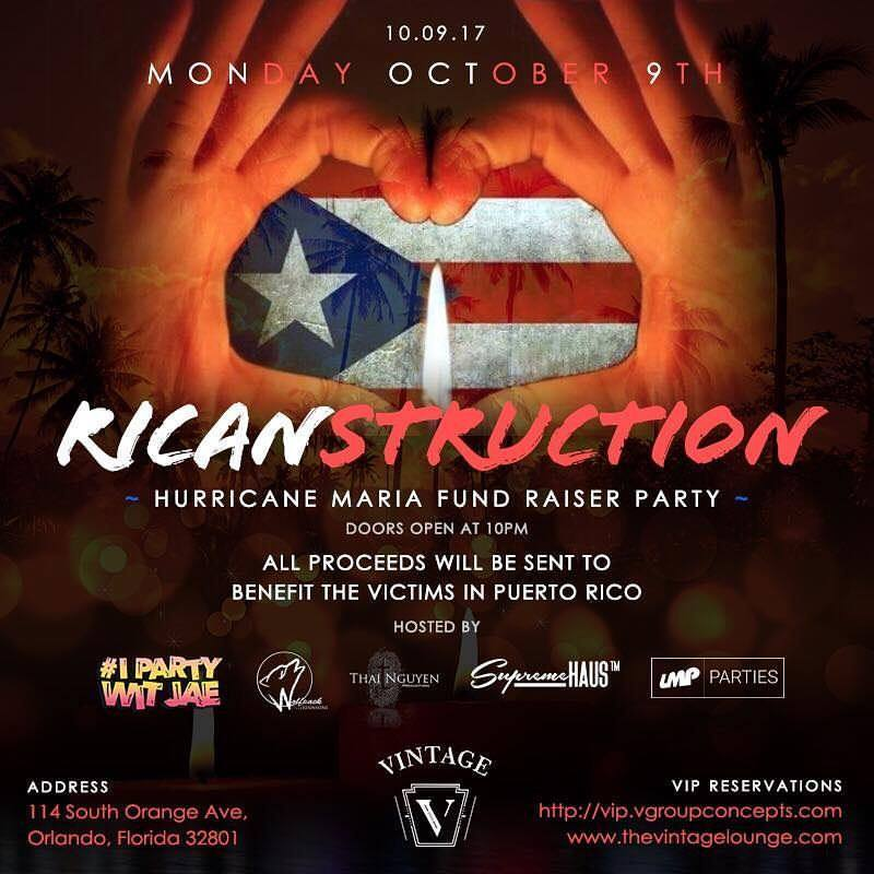 Help Puerto Rico Fundraiser at Vintage - This Monday October 9th