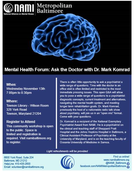 NAMI Baltimore Mental Health Forum: Ask the Doctor