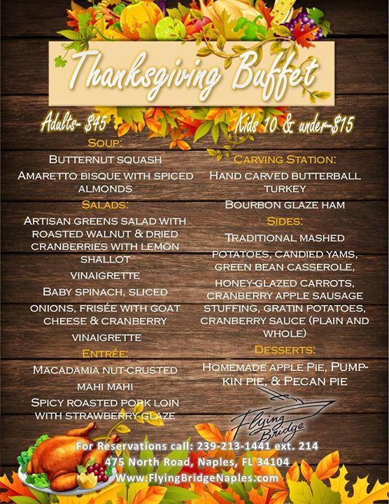 Thanksgiving Day Buffet, Fort Myers FL - Nov 24, 2016 - 12 ...