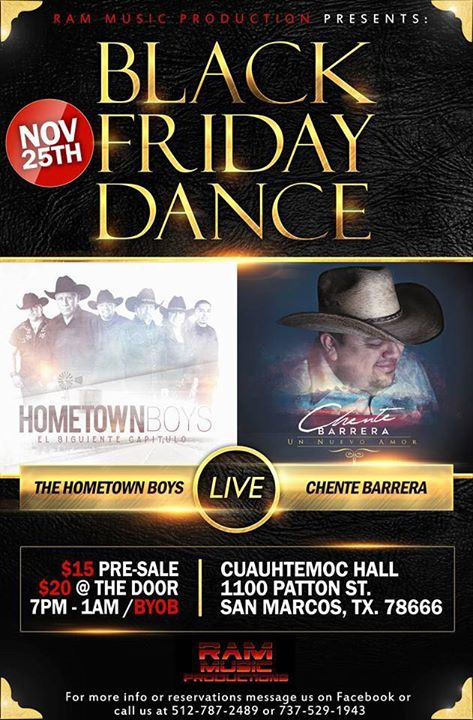 Thanksgiving Black Friday Dance With The Hometown Boys