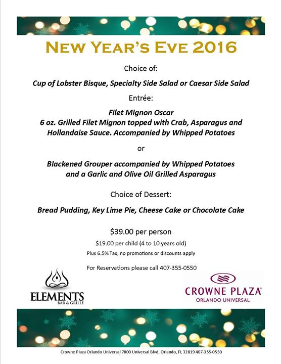 New years eve dinner orlando fl dec 31 2016 5 00 pm for What to make for new years eve dinner
