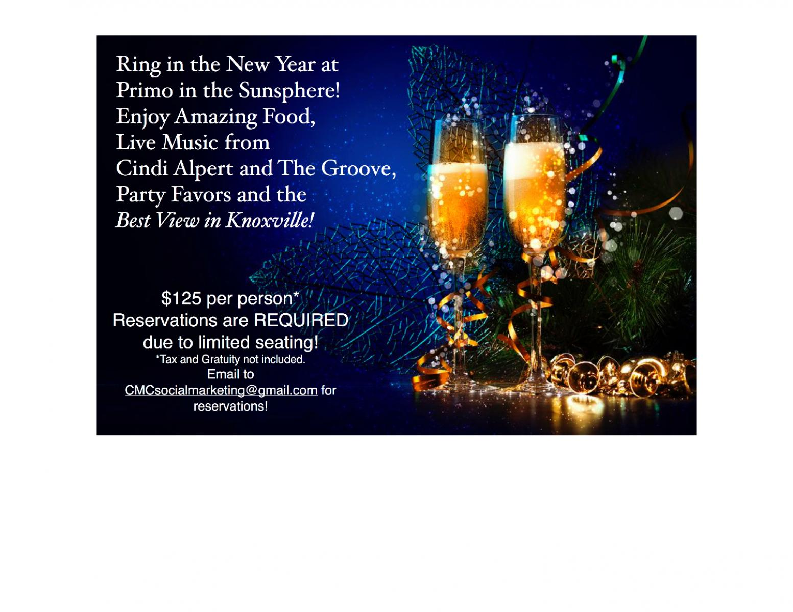 New Year's Eve Dinner, Knoxville TN - Dec 31, 2016 - 5:00 PM