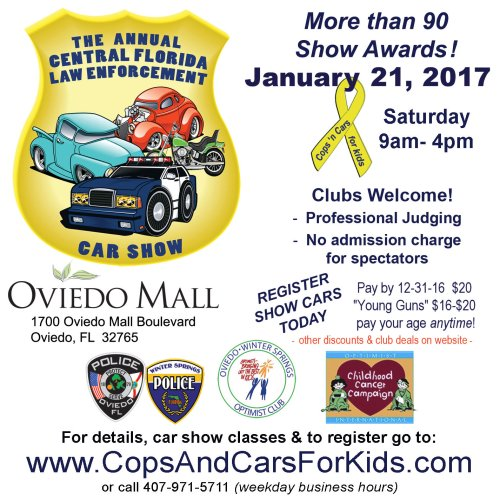 Cops And Cars For Kids Car Show The Oviedo Mall Orlando FL Jan - Kids car show