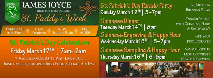 St. Patrick's Day Celebration | James Joyce Irish Pub