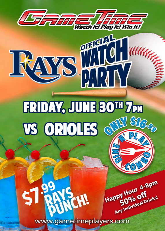 Official Tampa Bay Rays Watch Party at GameTime